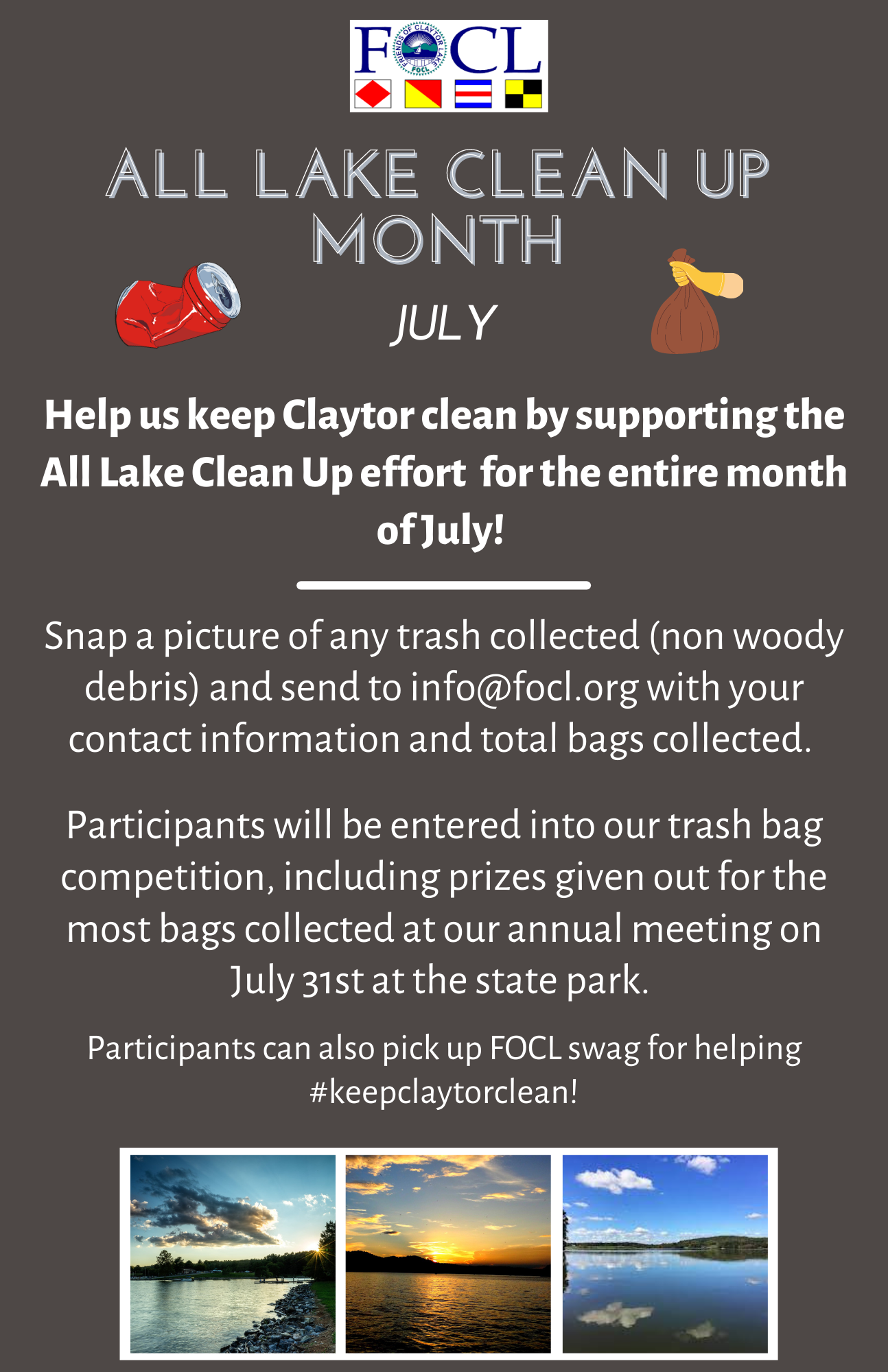 2021 All Lake Clean Up Month- JULY